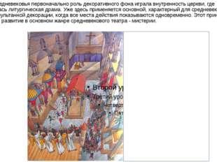 В период средневековья первоначально роль декоративного фона играла внутренно