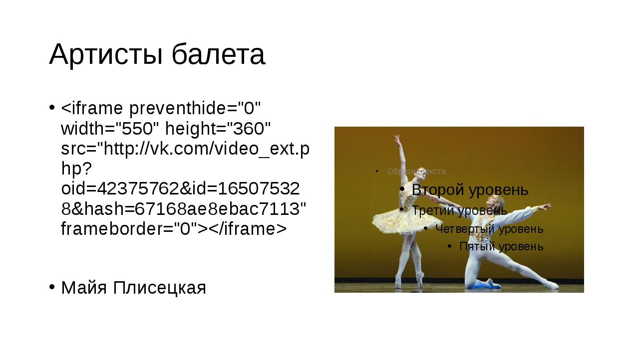 Артисты балета  Майя Плисецкая