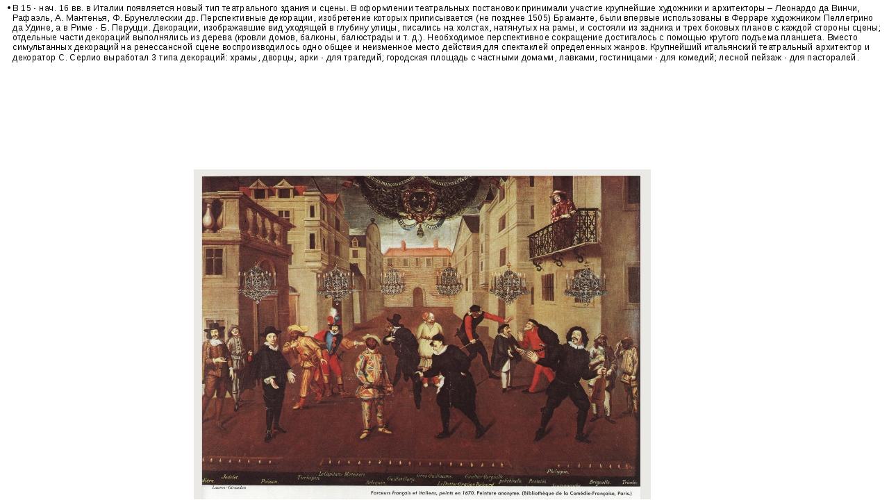 В 15 - нач. 16 вв. в Италии появляется новый тип театрального здания и сцены....
