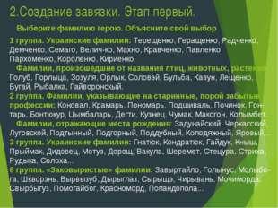 2.Создание завязки. Этап первый. 1 группа. Украинские фамилии: Терещенко, Гер