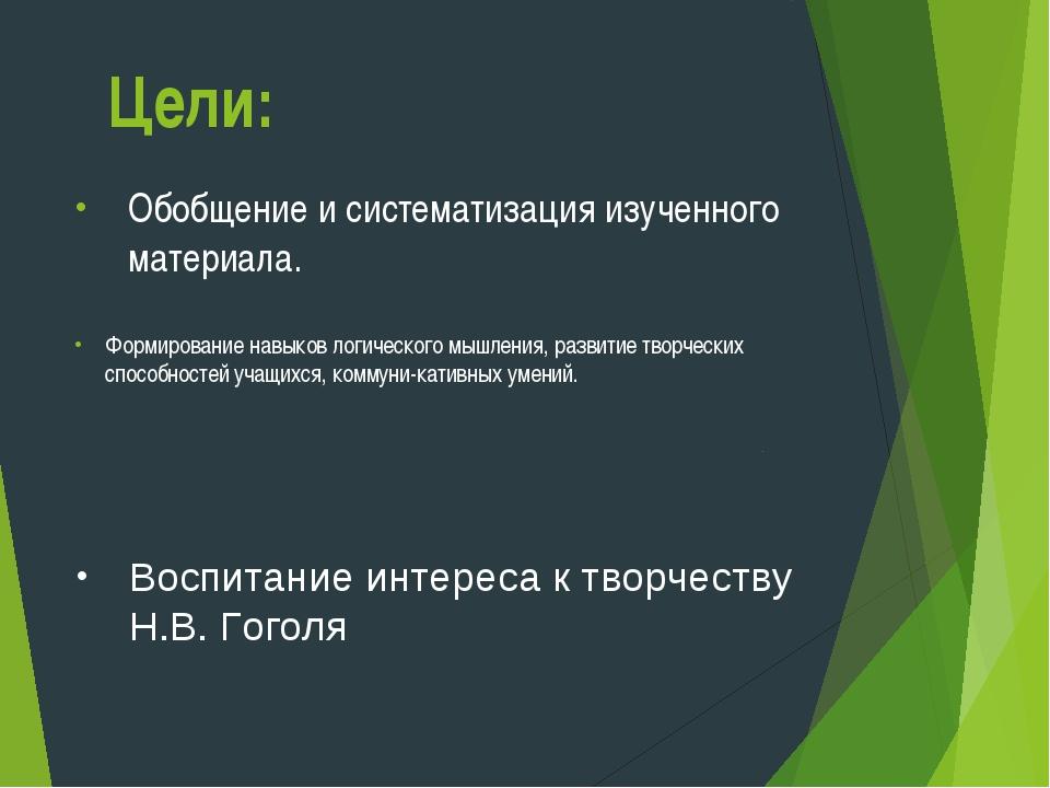 Цели: Обобщение и систематизация изученного материала. Формирование навыков л...