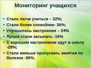 Мониторинг учащихся Стало легче учиться – 32%; Стали более спокойнее- 36%; Ул