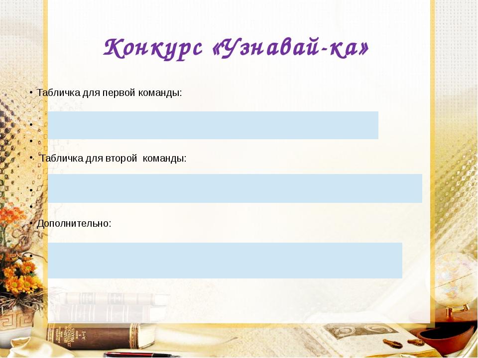 Конкурс «Узнавай-ка» Табличка для первой команды:  Табличка для второй кома...