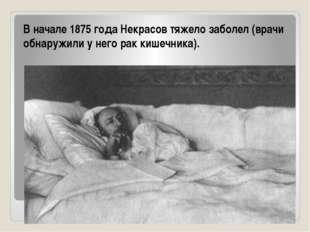 В начале 1875 года Некрасов тяжело заболел (врачи обнаружили у него рак кишеч