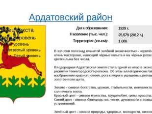 Ардатовский район В золотом поле над ельчатой зелёной оконечностью - червлё
