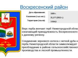 Воскресенский район Верх герба венчает герб Нижегородской области, означающи