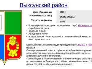 Выксунский район В четверочастном щите изображены: гербНижнего Новгородав с