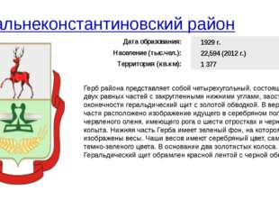 Дальнеконстантиновский район Герб района представляет собой четырехугольный,