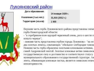 Лукояновский район Верхняя часть герба Лукояновского района представлена элем