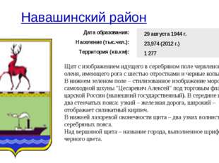 Навашинский район Щит с изображением идущего в серебряном поле червленого ол