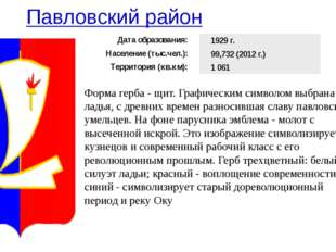 Павловский район Форма герба - щит. Графическим символом выбрана ладья, с дре