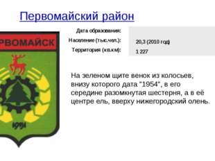 Первомайский район На зеленом щите венок из колосьев, внизу которого дата