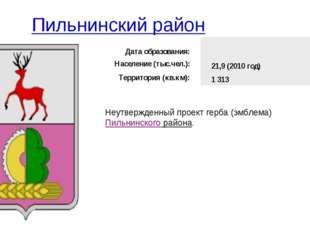 Пильнинский район Неутвержденный проект герба (эмблема)Пильнинского района