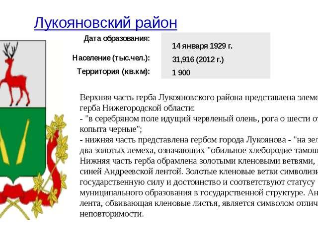 Лукояновский район Верхняя часть герба Лукояновского района представлена элем...