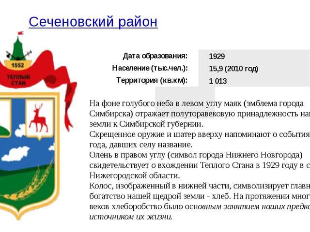 Сеченовский район На фоне голубого неба в левом углу маяк (эмблема города...