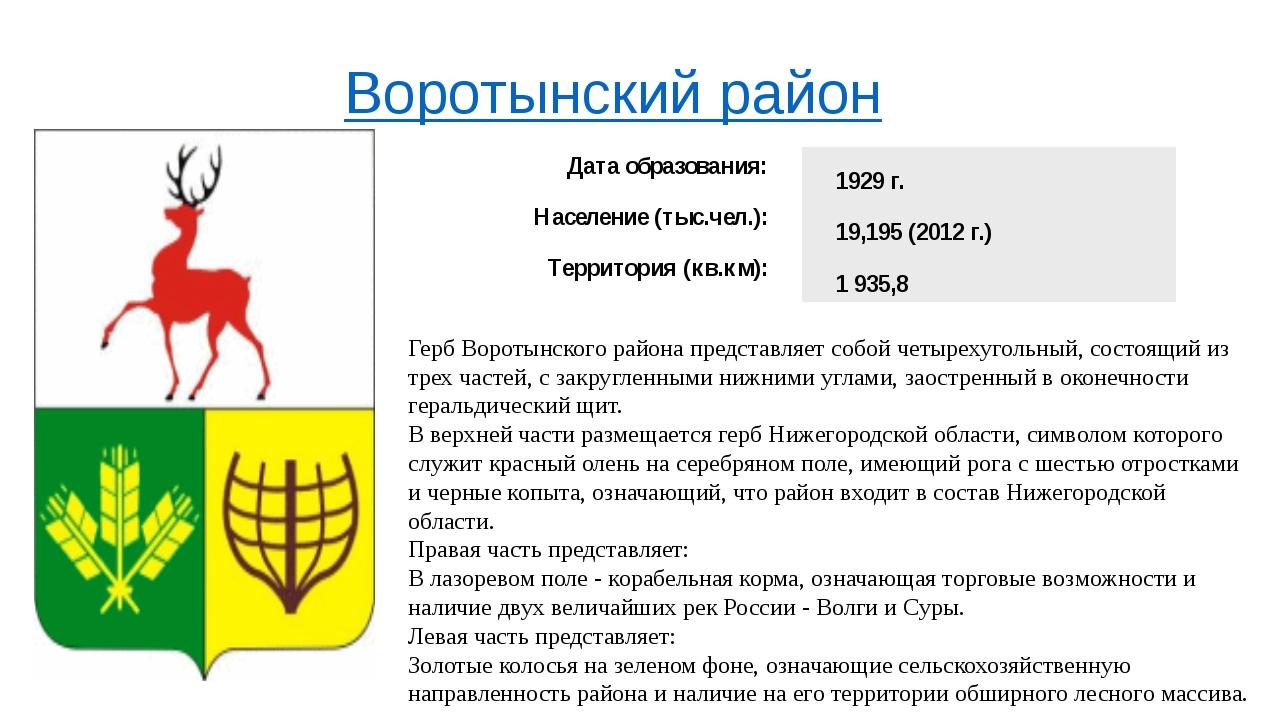 Воротынский район Герб Воротынского района представляет собой четырехугольный...
