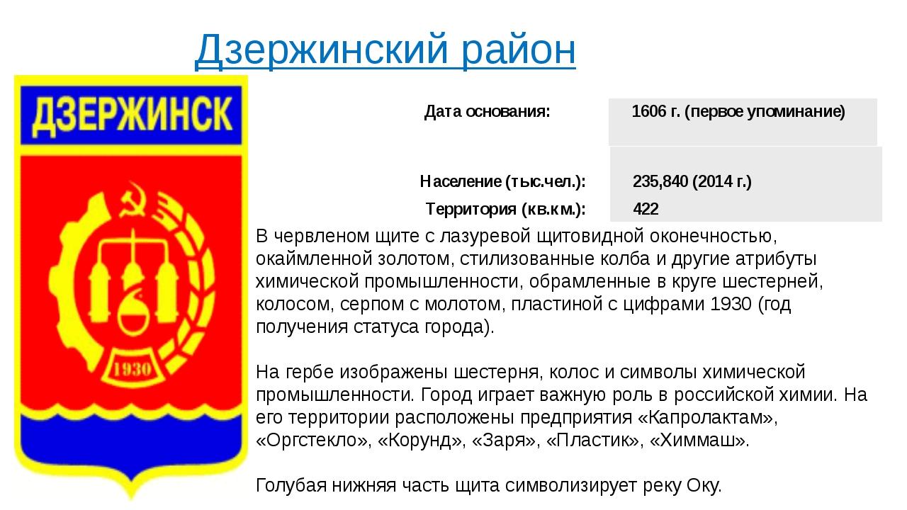 Дзержинский район   В червленом щите с лазуревой щитовидной оконечностью, о...