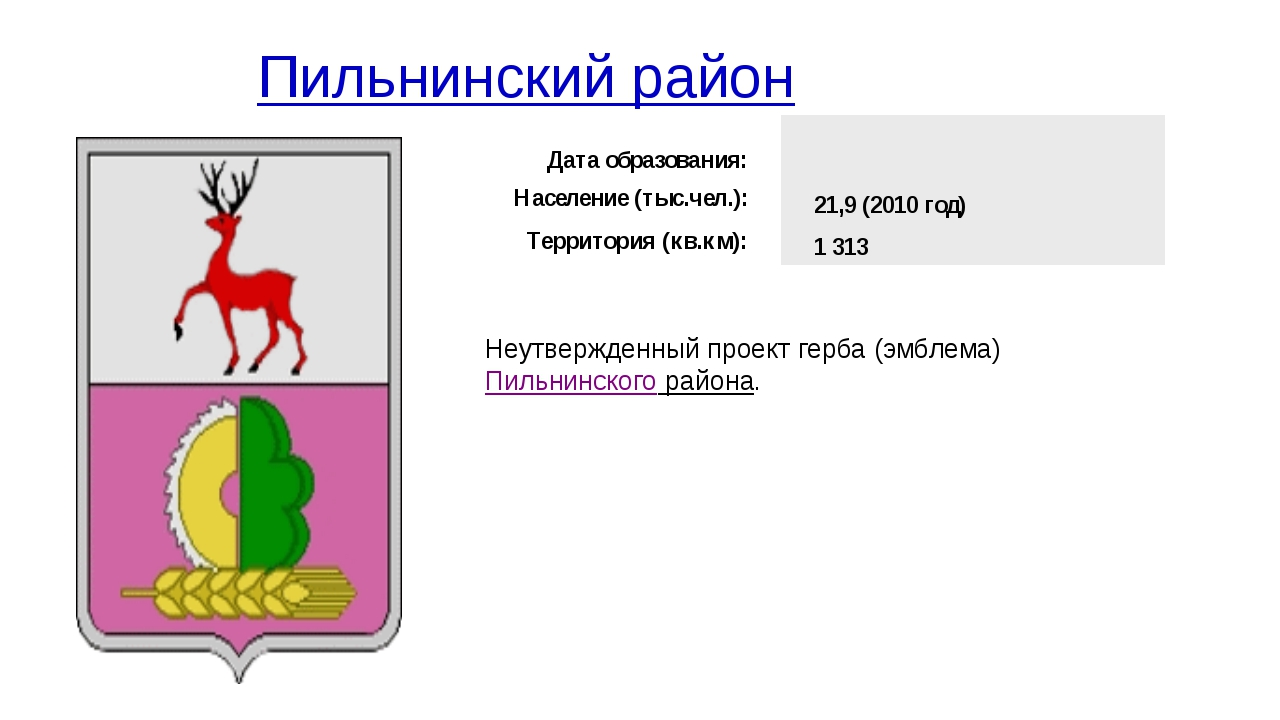 Пильнинский район Неутвержденный проект герба (эмблема)Пильнинского района...