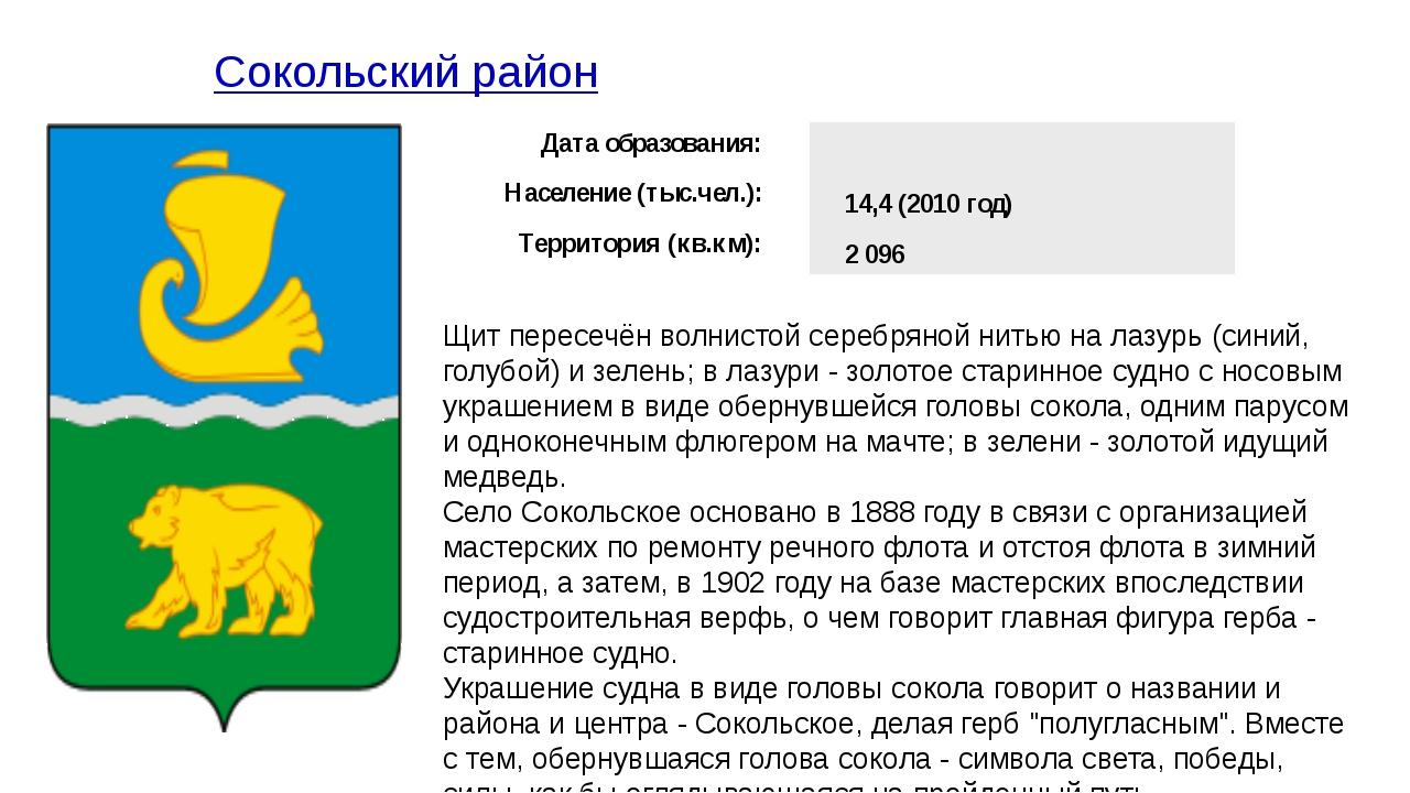 Сокольский район Щит пересечён волнистой серебряной нитью на лазурь (синий,...