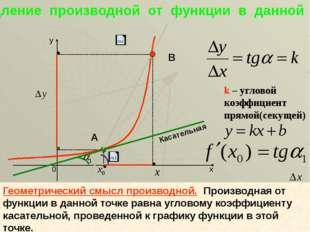 k – угловой коэффициент прямой(секущей) Касательная А В Геометрический смысл