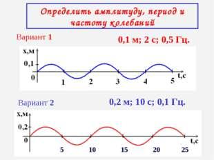Определить амплитуду, период и частоту колебаний Вариант 1 Вариант 2 0,1 м; 2