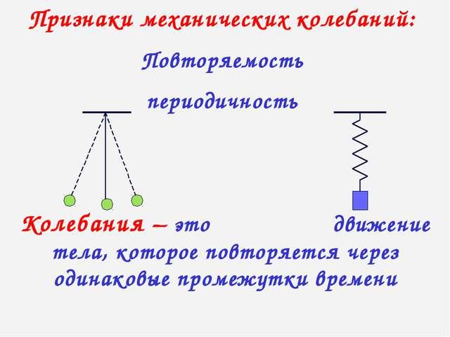 Колебания – это движение тела, которое повторяется через одинаковые промежутк...
