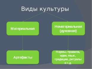 Виды культуры Материальная Нематериальная (духовная) Артефакты Нормы, правила