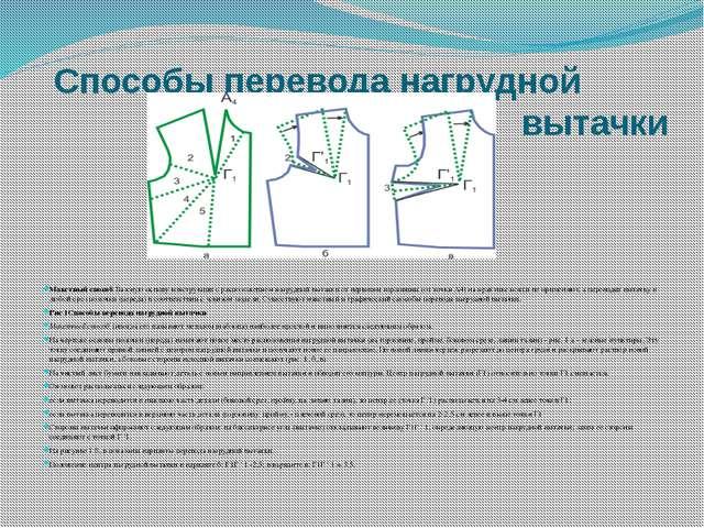 Способы перевода нагрудной вытачки Макетный способ Базовую основу конструкции...