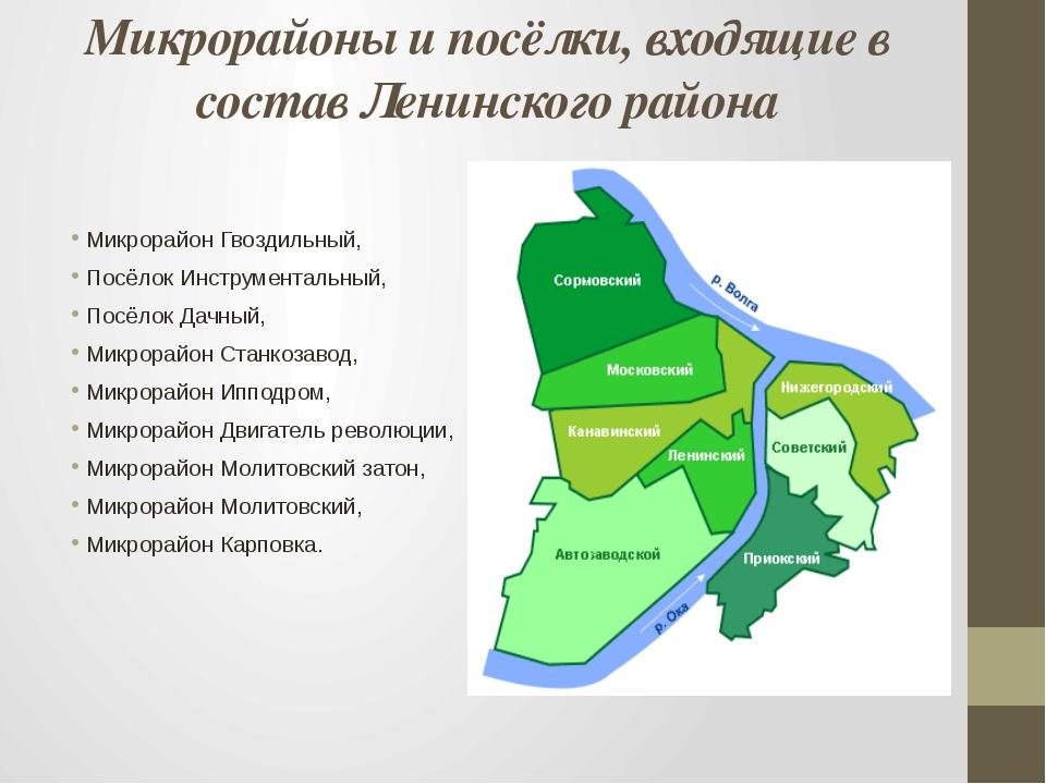 Микрорайоны и посёлки, входящие в состав Ленинского района Микрорайон Гвоздил...