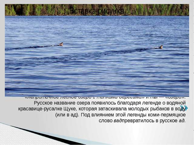 Коми-пермяцкоеназвание озераВадтыпроисходит от двух слов:вад— «непроточн...