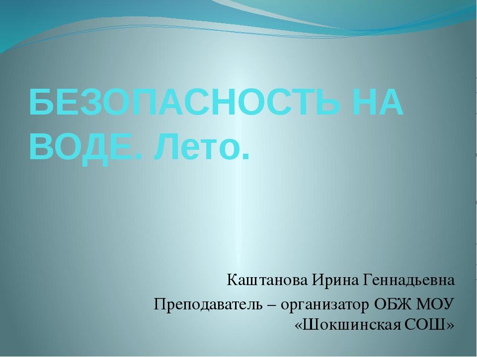 БЕЗОПАСНОСТЬ НА ВОДЕ. Лето. Каштанова Ирина Геннадьевна Преподаватель – орган...