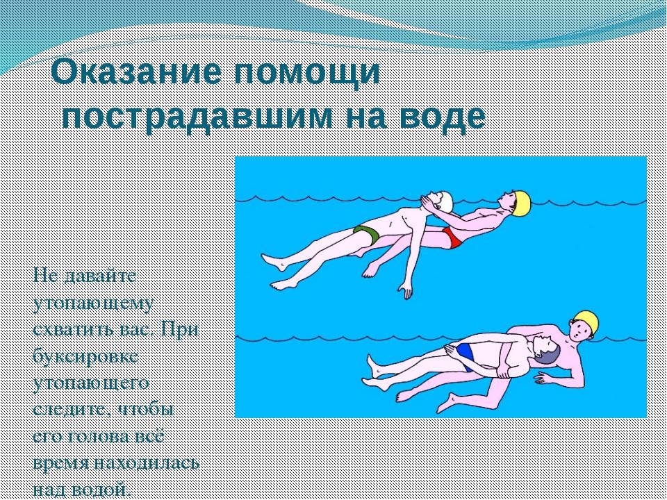 Оказание помощи пострадавшим на воде Не давайте утопающему схватить вас. При...