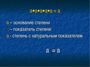 ааааа = а а – основание степени 5 – показатель степени а - степень с нату