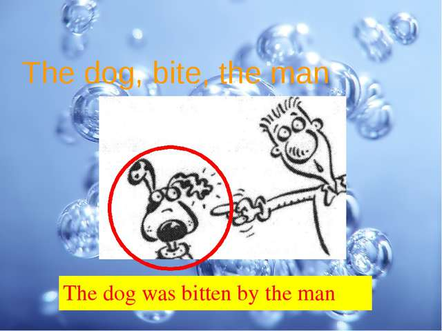 The dog, bite, the man The dog was bitten by the man