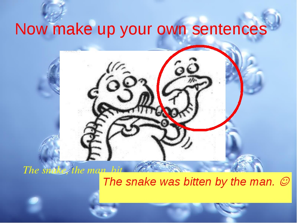 Now make up your own sentences The snake, the man, bit The snake was bitten b...