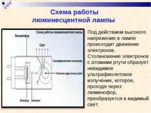 Схема работы люминесцентной лампы Под действием высокого напряжения в лампе