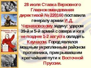 28 июля Ставка Верховного Главнокомандования директивой № 220160 поставила ге