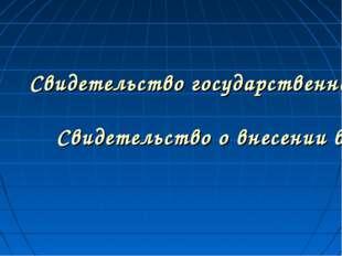 Свидетельство государственной регистрации индивидуального предпринимателя Сви