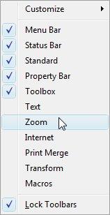 Контекстное меню инструментальных панелей CorelDRAW X5