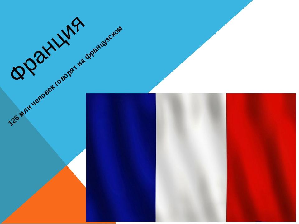 Франция 125 млн человек говорят на французском