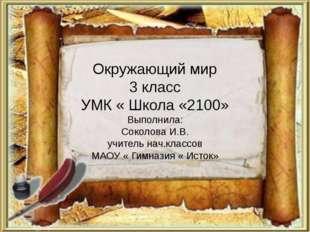 Окружающий мир 3 класс УМК « Школа «2100» Выполнила: Соколова И.В. учитель на