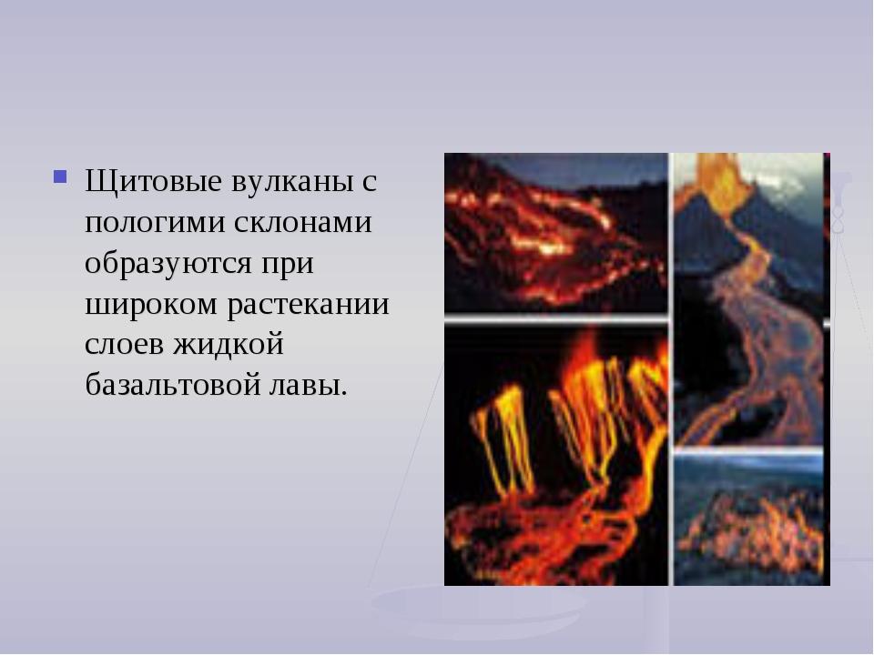 Щитовые вулканы с пологими склонами образуются при широком растекании слоев ж...