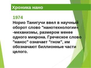 "Хроника нано 1974 Норио Танигучи ввел в научный оборот слово ""нанотехнологии«"