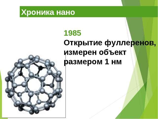 Хроника нано 1985 Открытие фуллеренов, измерен объект размером 1 нм