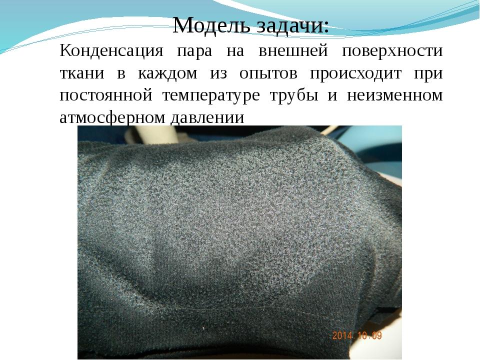 Модель задачи: Конденсация пара на внешней поверхности ткани в каждом из опыт...