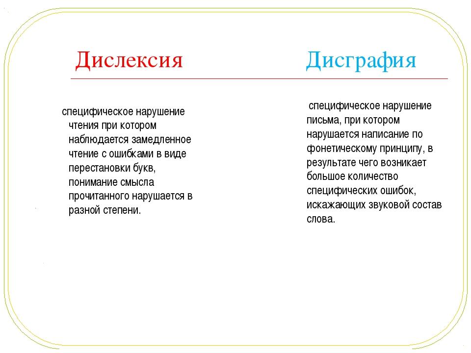 Дислексия Дисграфия  специфическое нарушение чтения при котором наблюдается...