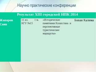 Научно практические конференции Результат XIII городской НПК 2014 Жапаров Са