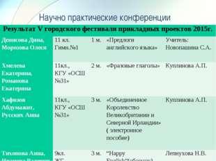 Научно практические конференции Результат V городского фестиваля прикладных