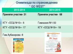 "Олимпиада по страноведению "" GO WEST"" 2013-20142014-2015 Приняли участие- 31"