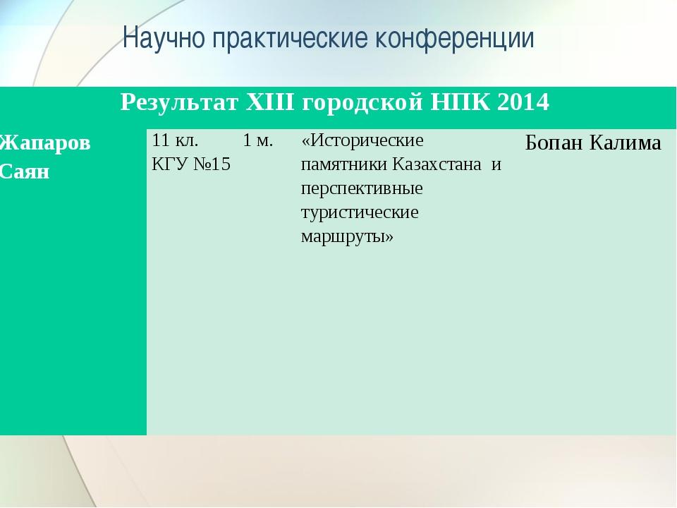 Научно практические конференции Результат XIII городской НПК 2014 Жапаров Са...